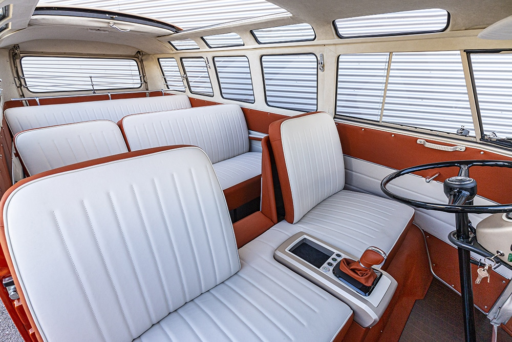There are eight seats inside, which are two-tone to match the exterior paintwork.