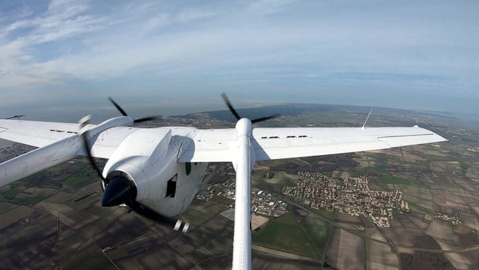 This in-flight photo shows the hybrid-electric powertrain on VoltAero's Cassio 1 testbed aircraft.