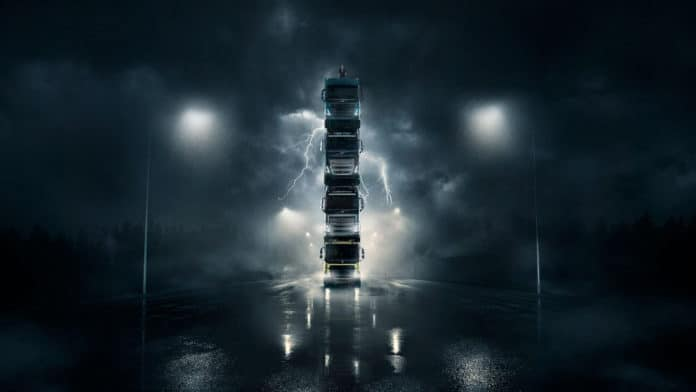 Volvo Trucks built a moving truck tower to showcase the power of its new models.