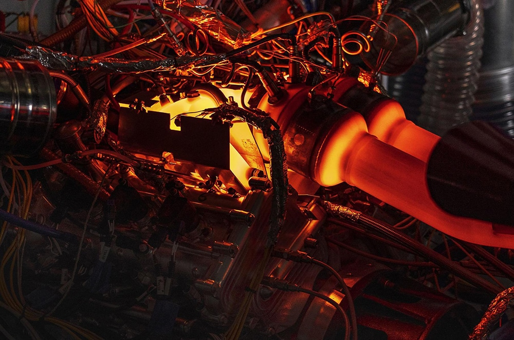 'Hot V' configuration allows high performance electrification and future emissions compliance.