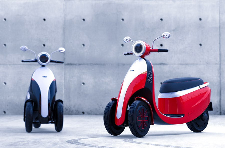 A three-wheeled motorcycle called Microletta.