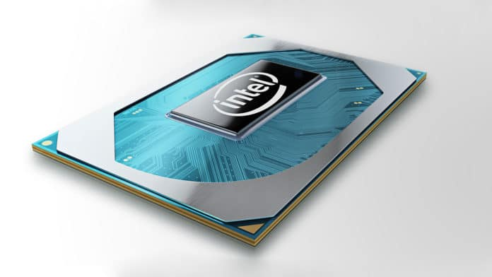 A photo shows the wafer of Intel's new 10th Gen Intel Core H-series processor.