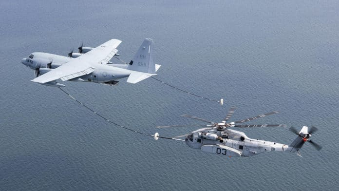 The CH-53K King Stallion during the air-to-air refueling test.