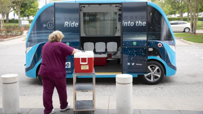 Mayo Clinic uses self-driving shuttles to transport COVID-19 tests to the laboratory.