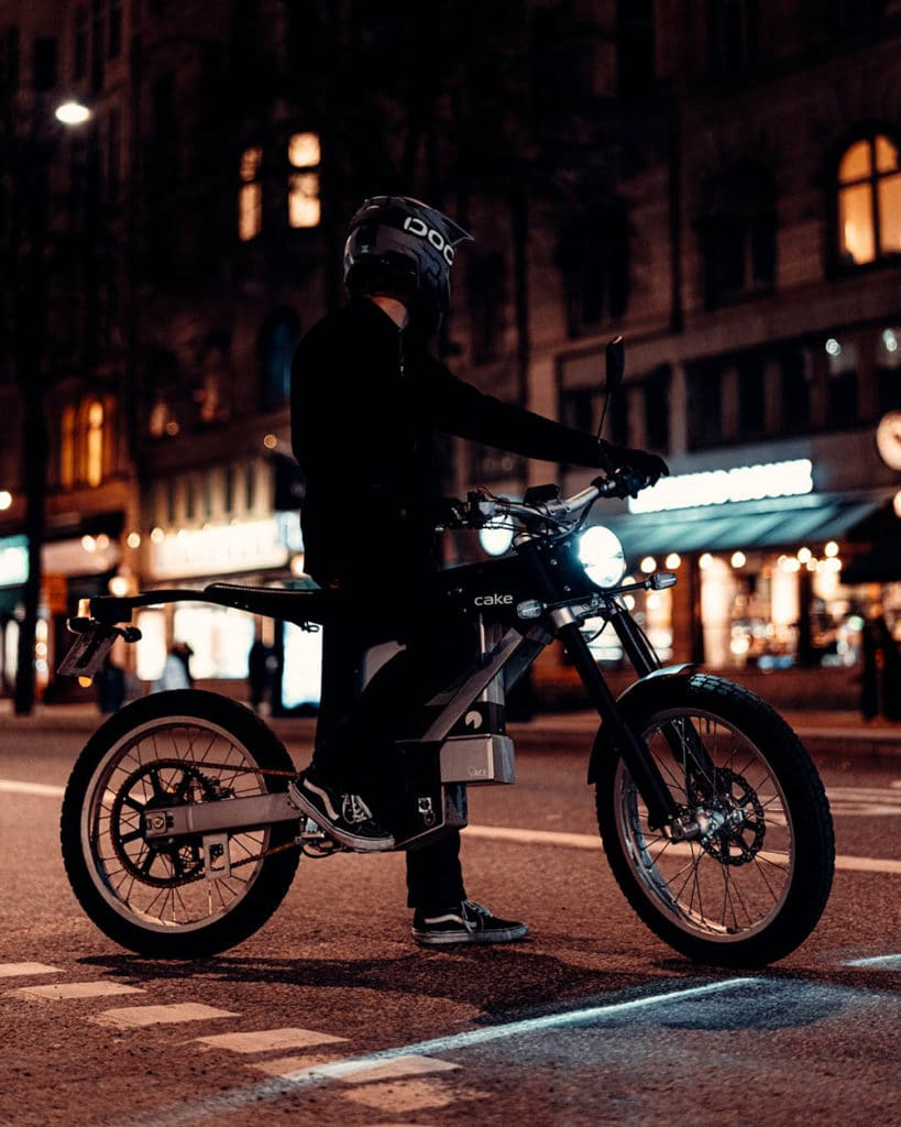 The electric motorcycle has a very modern body design.