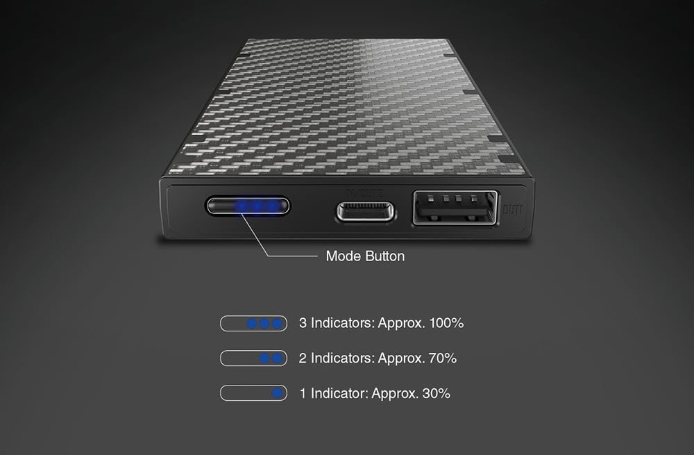 Nitecore NB10000 power level display.