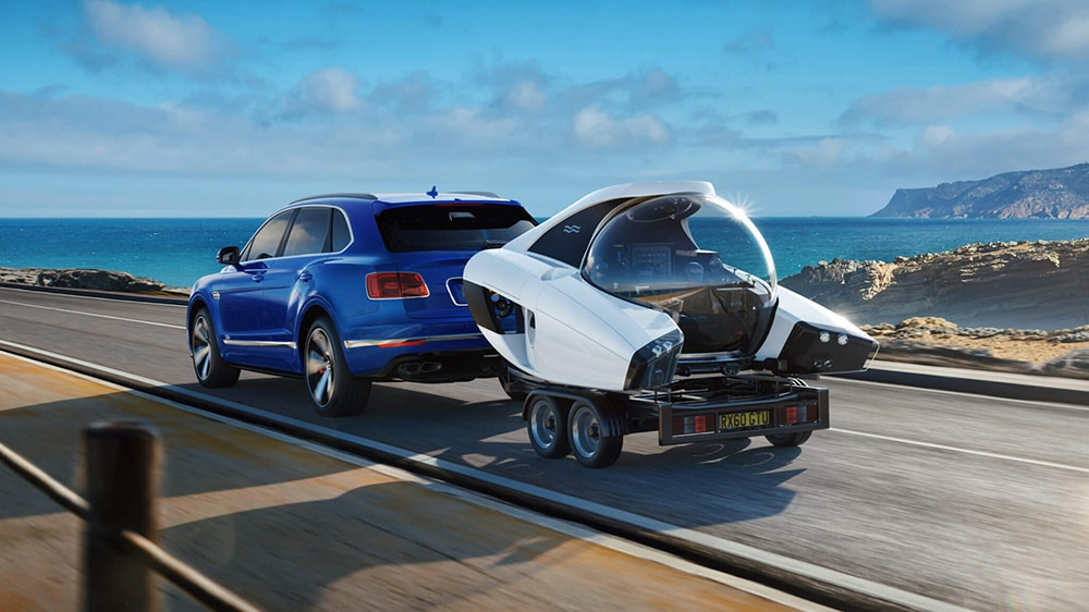 The NEMO can be towed behind a car on a trailer for shoreside launching.