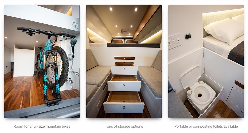 The camper van offer enough storage space.