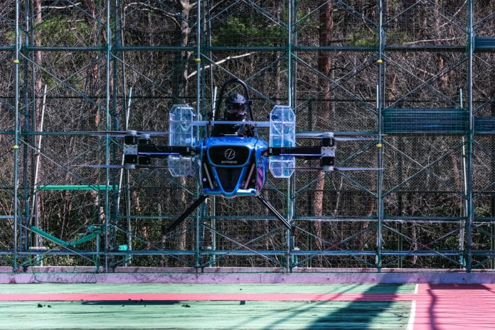 Japan's first-ever manned test flights of a flying car completed by SkyDrive.