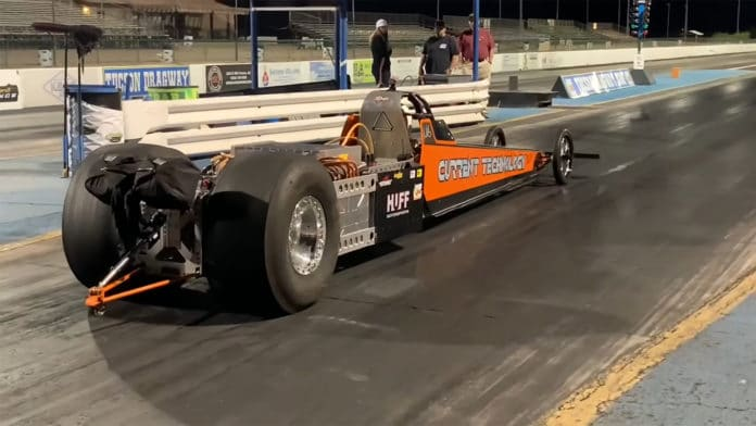 Steve Huff's all-electric dragster sets world speed record for 1/4 mile.