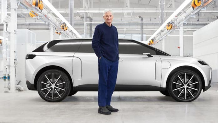 James Dyson with the prototype of his abandoned electric car.