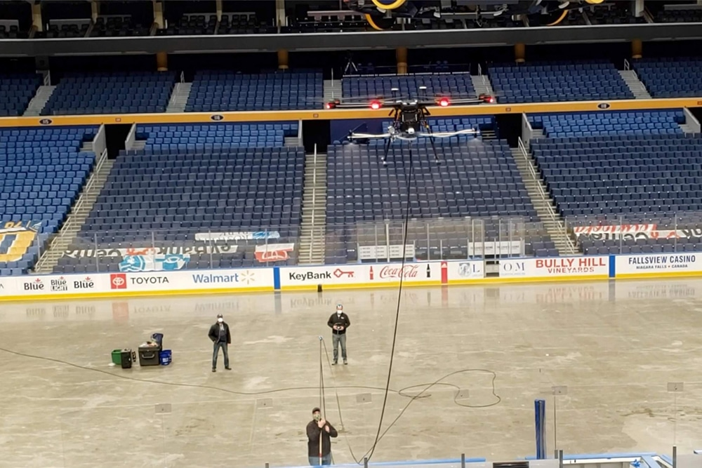 EagleHawk performs a test run at the KeyBank Center in Buffalo, New York.