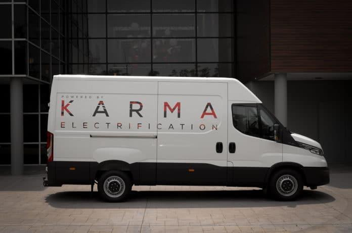 Karma showcased an extended range E-Flex utility van platform.