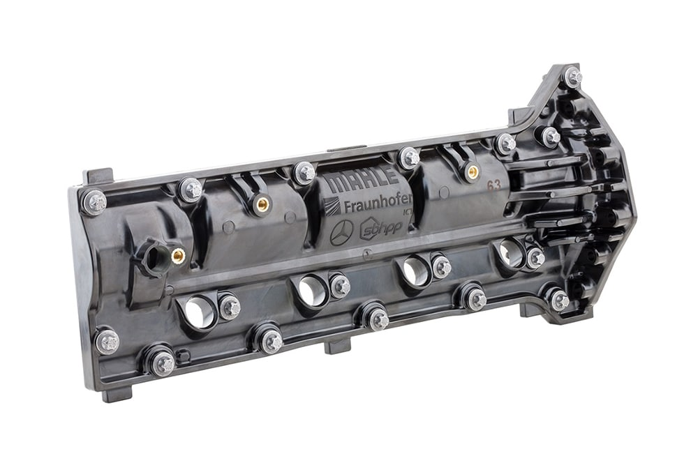 The fiber-reinforced thermoset polymer component lowers engine weight.