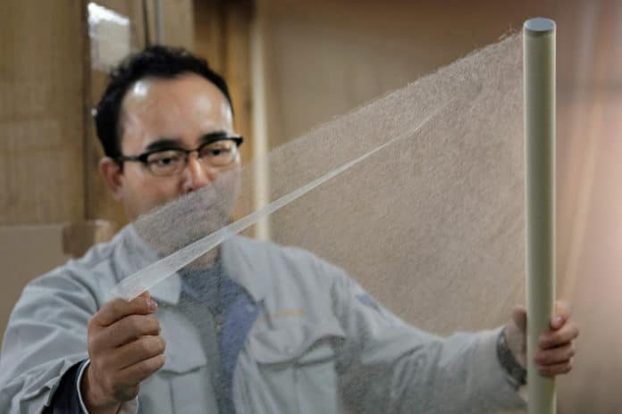 Tengujo, the world's thinnest paper, almost completely transparent.