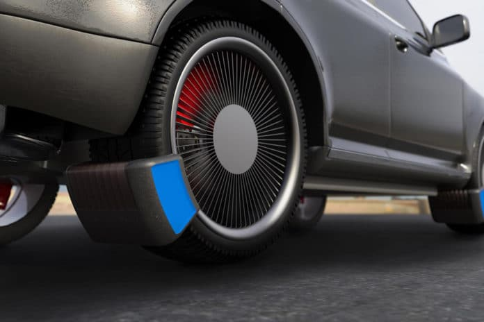 Prototype device traps harmful microplastics from your tires while driving.