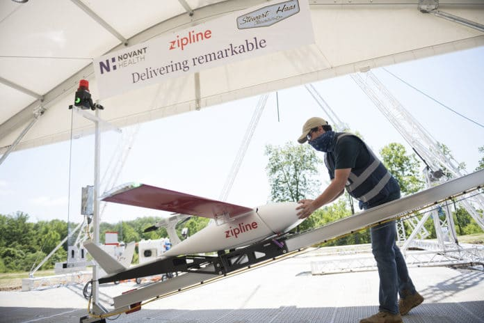 Zipline's delivery drones begin to deliver PPE and medical supplies in U.S.
