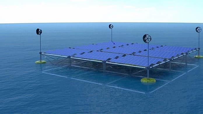 Modular floating platform generates energy from waves, wind and solar energy.