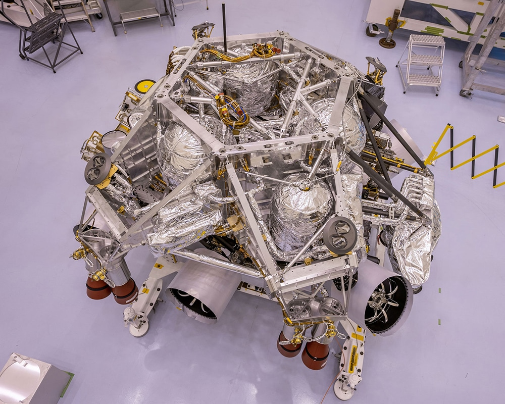 This image of the rocket-powered descent stage sitting on to of NASA's Perseverance rover.