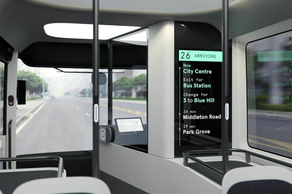 The interior of the Arrival electric bus is equipped with a large number of screens.