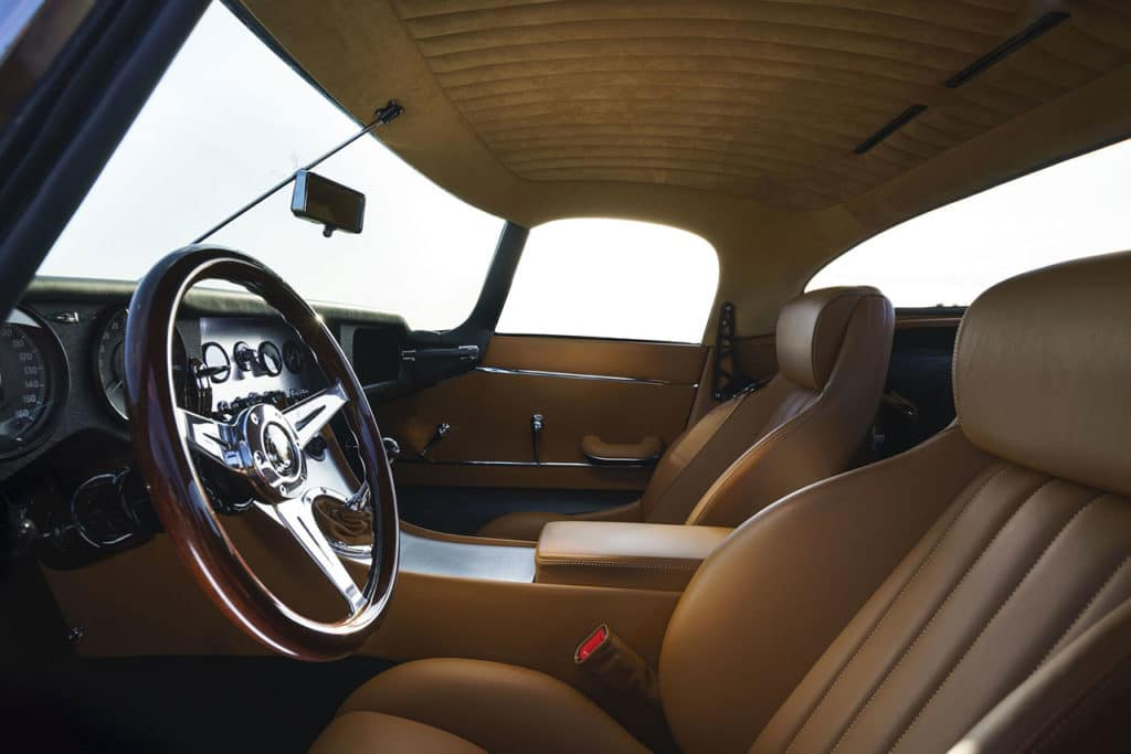 The interior of the Lightweight GT offers significantly more amenities than the historical original.