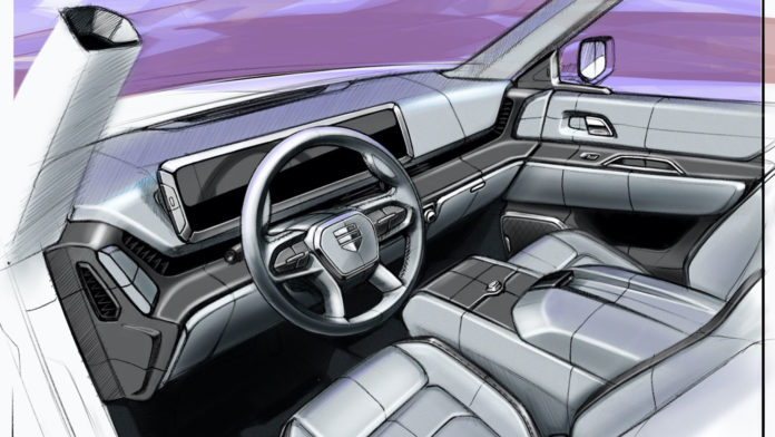 The sketches that preview the production-intent interior of Endurance all-electric pickup.