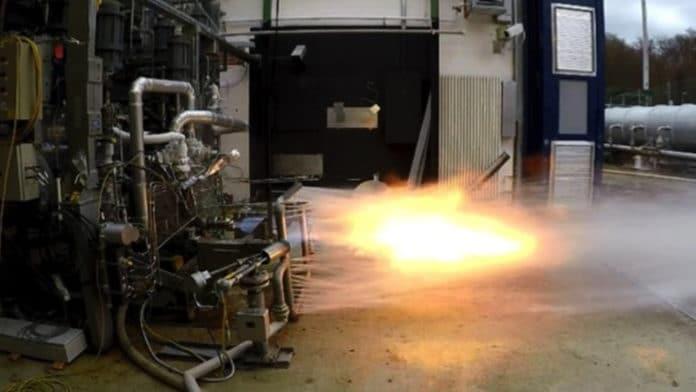 Prometheus gas generator test at DLR Lampoldshausen testing facility.