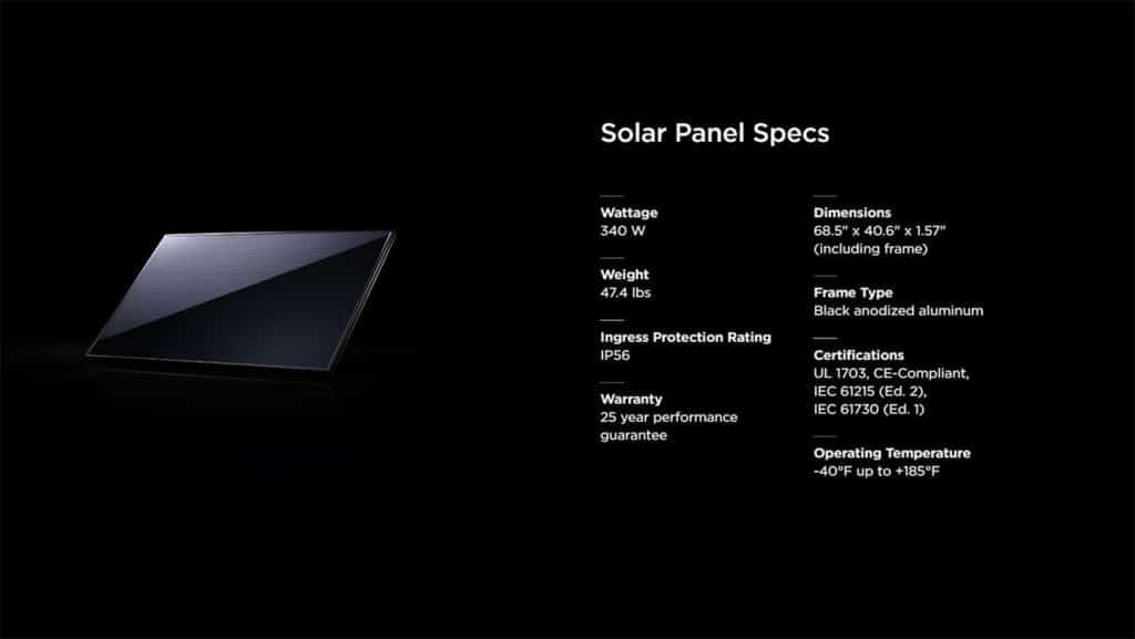 Tesla solar roof tile specifications.
