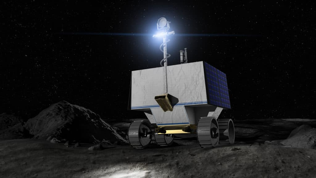 Illustration of NASA's water-seeking robotic Moon rover (VIPER) on the surface of the Moon.