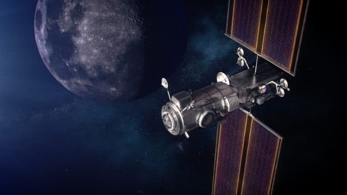 Artist's concept of the Gateway power and propulsion and Habitation and Logistics Outpost, or HALO, in orbit around the Moon.