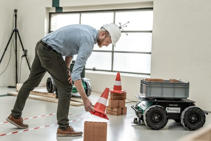 Trials with the mobile robot platform on a mock construction site.