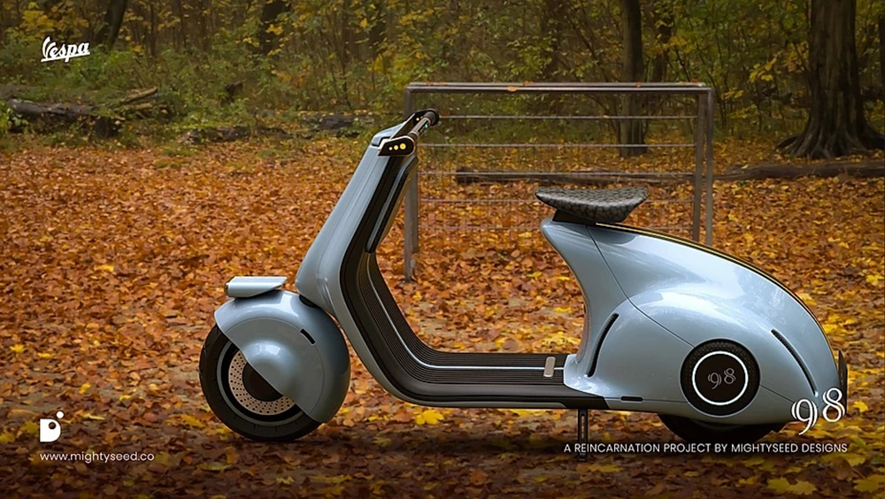 It looks like a modern scooter with a retro feel.