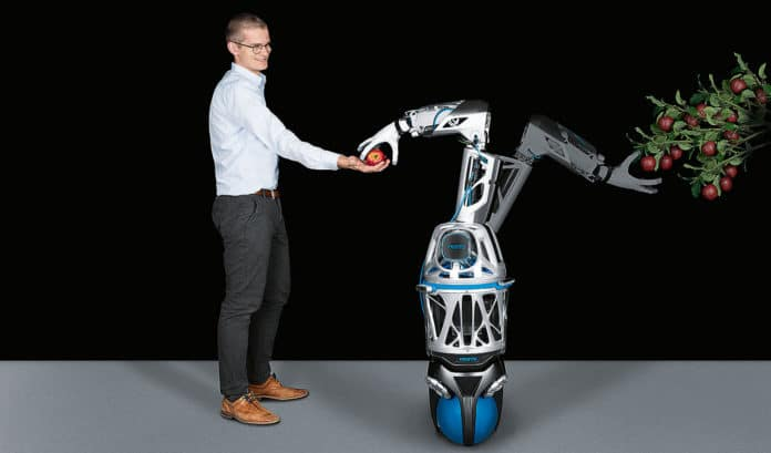 BionicMobileAssistant, a bionic robot hand for helpers in assembly and intralogistics.