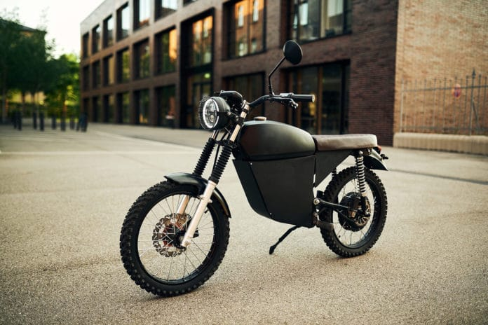 BlackTea Moped, a small 50 mph electric motorcycle with a vintage look.
