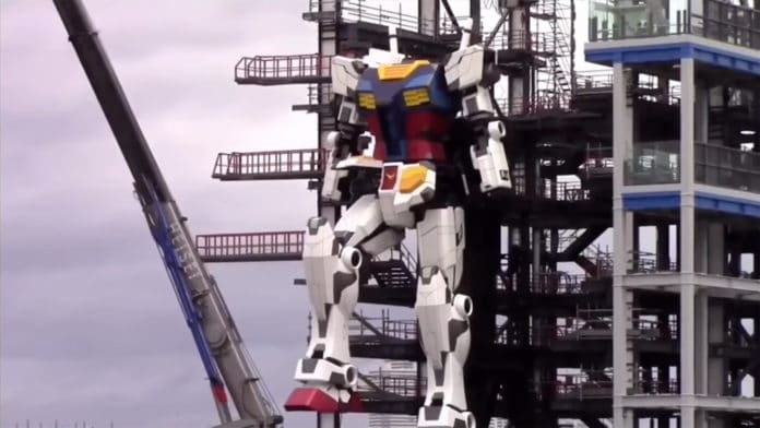 The gigantic, 60-foot Gundam Robot takes its first tentative steps