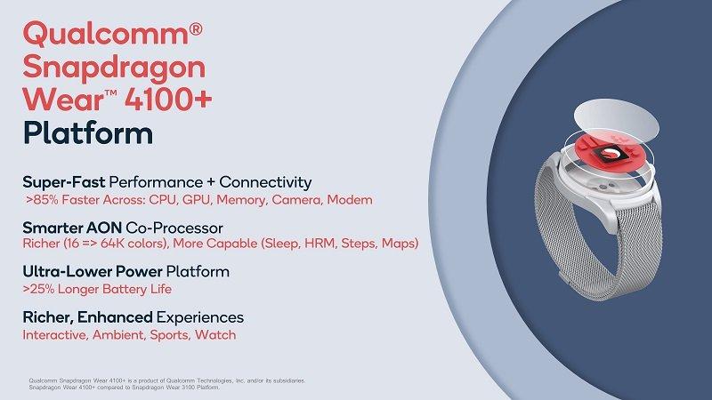 The new Qualcomm Snapdragon Wear 4100 platforms.