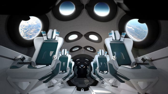 Virgin Galactic reveals cabin interior of its first SpaceshipTwo vehicle.