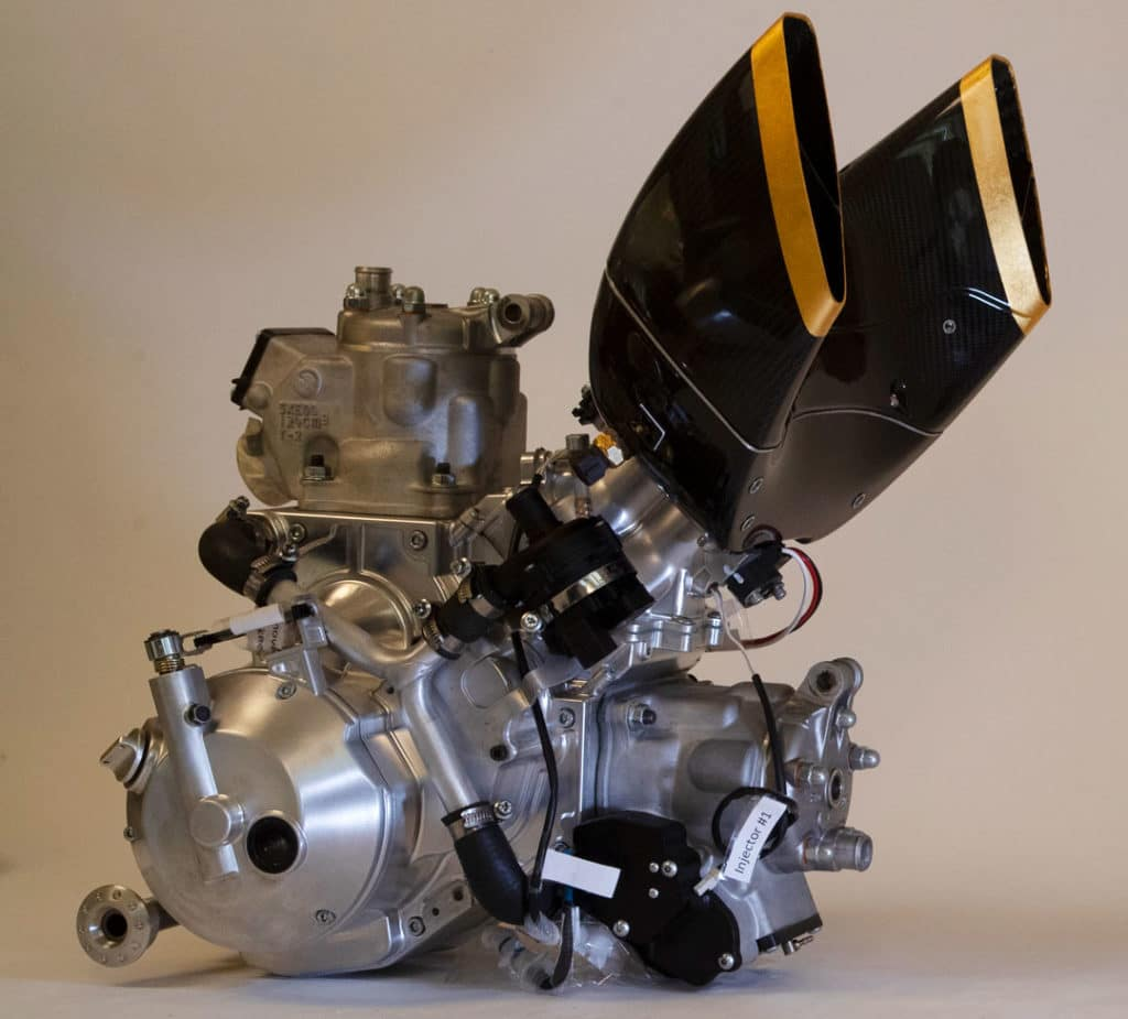 The 250cc v-twin engine with electronic fuel injection.