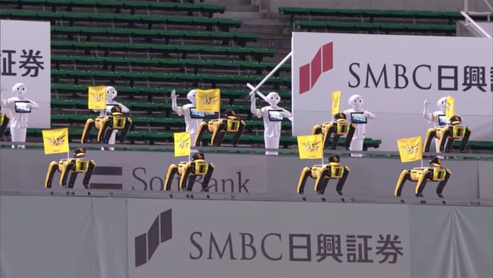 'Spot' and 'Pepper' robots turn into cheerleaders in baseball games in Japan.