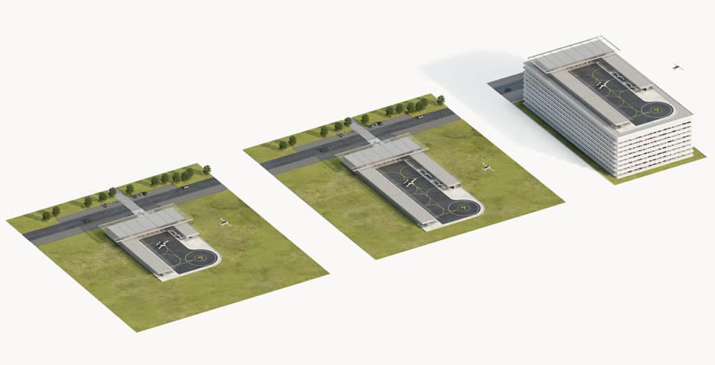 Three different vertiport designs using the same modular elements.