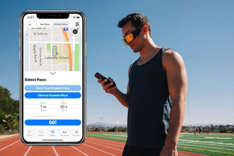 The Ghost Pacer companion app allows you to find routes and race them on the Ghost Pacer glasses.