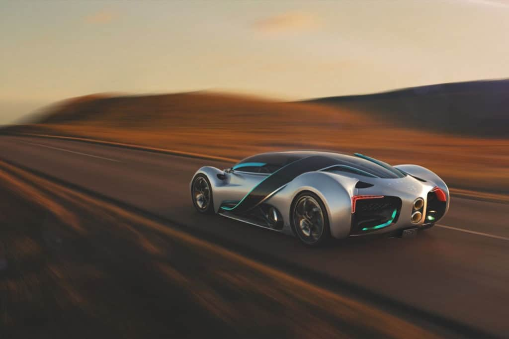 The vehicle has a maximum speed of 221 mph.