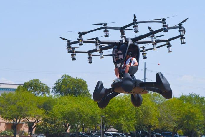 Matt Chasen, LIFT Aircraft chief executive officer, pilots the eVTOL Hexa over Camp Mabry, Texas.
