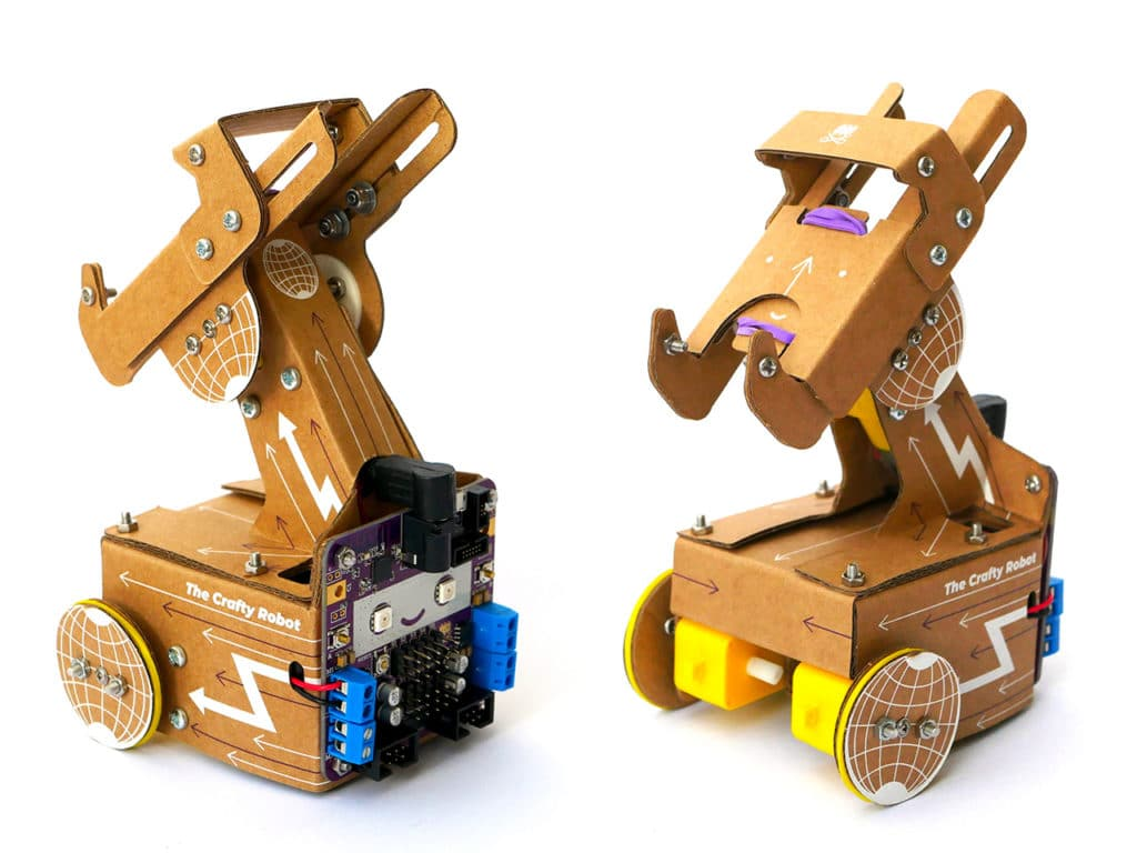 Mini cardboard telepresence robot allowing video callers to move around your in space.