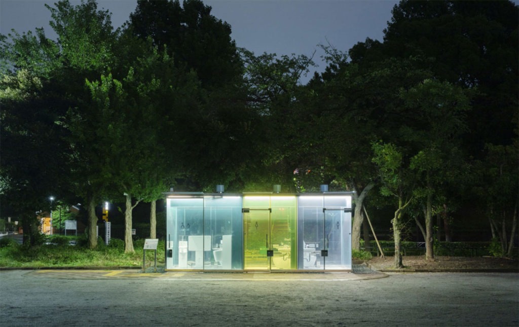 Glass exterior reveals the facility is empty, making it safe for use at night