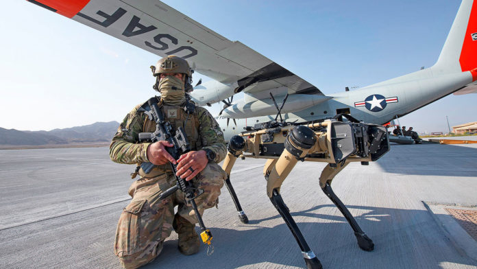 U.S. Air Force tests robot dogs for base security.