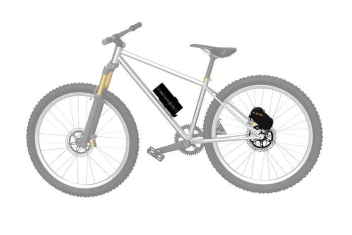 Brake-mounted Bimotal Elevate turns mountain bikes into electric bicycles.