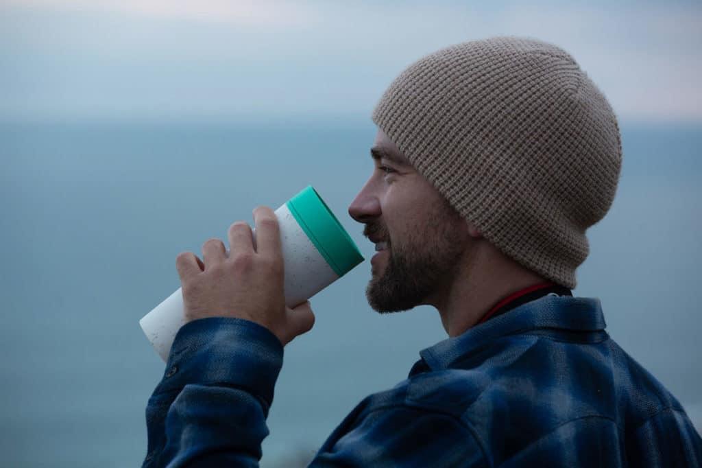 travel mug allows a 360-degree drinking experience