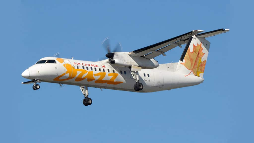 The Dash 8 aircraft with a passenger capacity of 50 people.