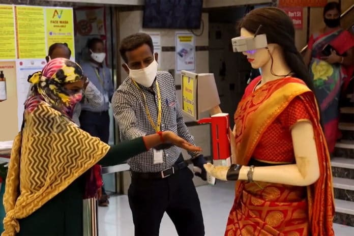 Robot 'Zafira' scans customers, dispenses sanitiser at cloth stores in India